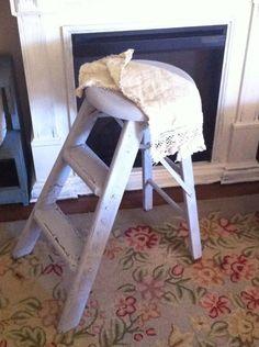 Vintage Gray Round Stool Step Ladder  by Vintagecollectorlove, $42.00