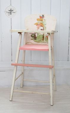 Your place to buy and sell all things handmade Vintage High Chairs, Doll High Chair, Reclaimed Furniture, Pink Plastic, Prams, Shabby Chic Style, Doll Furniture, Girls Bedroom, Baby Dolls