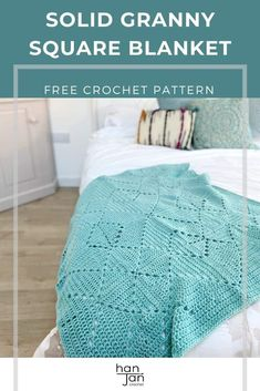 The Criss Cross Blanket is a deceptively easy solid granny square crochet blanket that uses beginner stitches and clever construction to create a fabulously delicate yet cosy look and feel. A great project if you're looking for a quick and easy make. Find the free pattern and video tutorial on HanJan Crochet. #solidgrannysquare #crochetmotifblanket #grannysquareblanket Modern Crochet Patterns, Crochet Blanket Patterns, Crochet Motif, Free Crochet, Afghan Crochet, Crochet Blankets, Crochet Ideas, Crochet Stitches, Crochet Projects