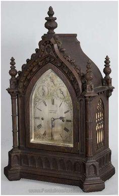 Clocks Oak Fussee Gothic Bracket Clock (Tiffany & Co.)Oak Fussee Gothic Bracket Clock (Tiffany & Co. Antique Clocks, Antique Decor, Antique Furniture, Furniture Decor, Furniture Design, Vintage Clocks, Vintage Room, Plywood Furniture, Chair Design