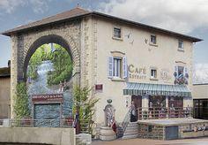""""""" Et au milieu coule une rivière..."""" ( Film de Robert Redford ) / Street art. / Estrablin, Isère, France. / By Patrick Commecy."""