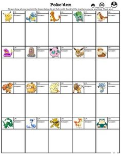 This is fun math activity which is connected with the idea of Pokemon Go (Get…