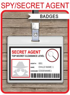 Spy or Secret Agent Badge template – red Spy Birthday Parties, Spy Party, Race Car Party, Camo Birthday, Movie Party, Party Games, Secret Agent Party, Fingerprint Cards, Id Card Template