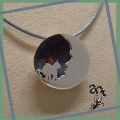 """Sterling silver handmade pendant  """"Cat on the moon""""."""