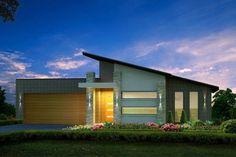 Moderna fachada de casas de un piso