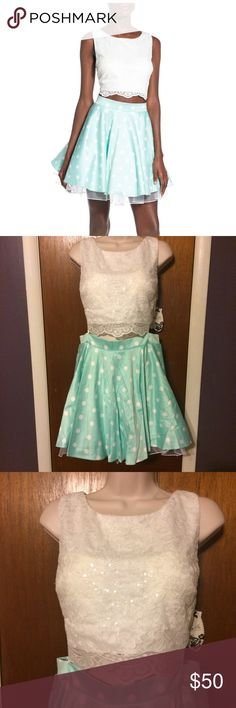NWT 2 piece dress. Juniors 2 piece dress. Lace top mint green flare skirt. City Triangles Dresses Mini