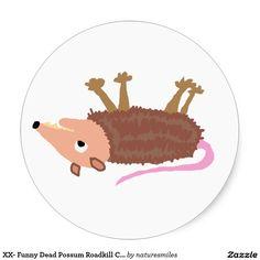 XX- Funny Dead Possum Roadkill Cartoon Classic Round Sticker