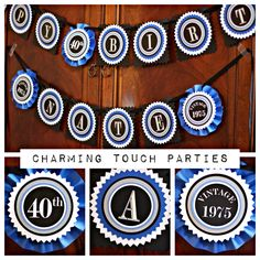 40th Birthday party decor. Blue and black Happy Birthday banner / decoration. Fully assembled and customizable. by CharmingTouchParties on Etsy