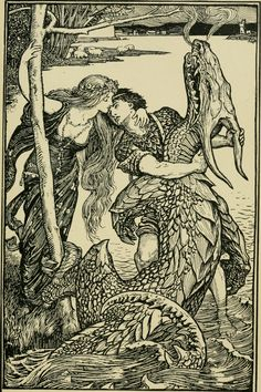 the kiss that gave the victory from the Crimson Fairy book by Andrew Lang illustration by Henry Justice Ford Illustrators, Sketches, Illustration, Drawings, Fantasy Art, Fairytale Illustration, Art, Vintage Illustration, Ink Illustrations