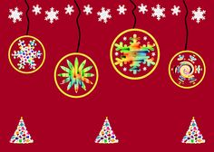 This multicolored Christmas design consists of a row of abstract snowflake shapes hanging in circles, as though Christmas ornaments. An attractive multicolored row of abstract Christmas trees decorate the lower portion of the design, while a row of snowflakes enhance the upper portion. Find this image and more for sale at  marian-bell.pixels.com  and  marian-bell.fineartamerica.com  More items for sale at zazzle.com/marianbellbellaspix  etsy.com/shop/MarianBellBellasPix