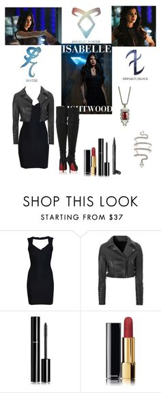 """Isabelle Lightwood Outfit 2 - Shadowhunters"" by hemmo1drauhl ❤ liked on Polyvore featuring Hervé Léger, Glamorous, Chanel, Christian Louboutin, outfit, isabelle, shadowhunters and lightwood"