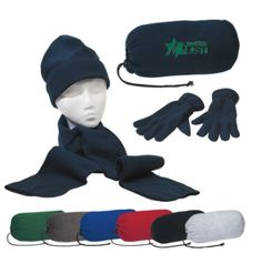 Keep warm buddy set is made of brushed polyester fleece and includes scarf, gloves and cap in a drawstring bag. Colors: Black, Navy Blue, Red, Royal Blue, Forest Green, Charcoal Gray, Light Heather Gray