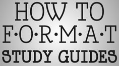 Nursing School | How To Format Study Guides