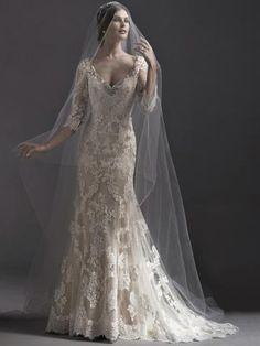 Elegante V Sirena Applique Coda a Strascico Corto Pizzo Abiti da Sposa