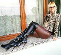"""Dana Labo model (@dana_labo_model) auf Instagram: """"#bootsoverknees #bootsoverkneehigh #boots #stiefel #plateau #stilettos #leggings#leatherpants…"""""""