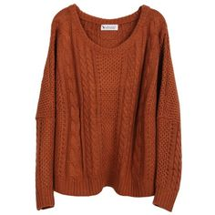 Coffee Batwing Long Sleeve Pullovers Sweater ❤ liked on Polyvore featuring tops, sweaters, shirts, batwing sweater, long-sleeve shirt, brown sweater, pullover sweaters and long sleeve tops