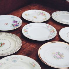 Vintage floral bread/ dessert  plates with golden rims and accents. Otis + Pearl Vintage Rentals