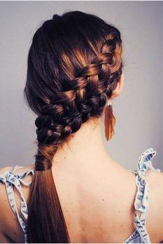 double braid into pony - very neat #hair