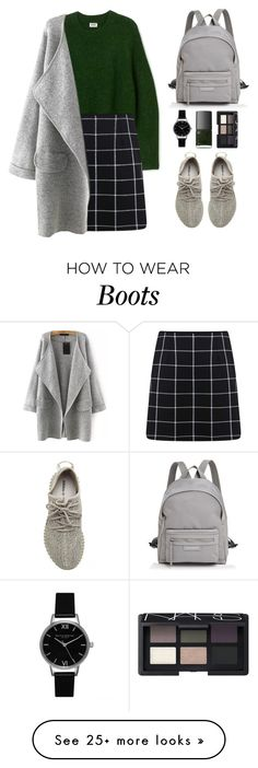 """""""Yeezy Boots I fall in love with this shoe"""" by fikanur4 on Polyvore featuring Miss Selfridge, Longchamp, adidas Originals, Topshop and NARS Cosmetics"""