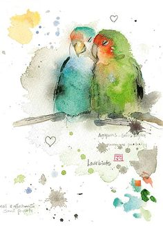Lovebirds by Jane Crowther. Design for Bug Art greeting cards.