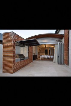 BBQ This is awesome, might have to try something like this for my grill wall are. BBQ This is awes Outdoor Bbq Kitchen, Outdoor Kitchen Design, Outdoor Cooking, Outdoor Areas, Outdoor Rooms, Outdoor Living, Indoor Outdoor, Yard Design, House Design