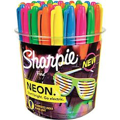 Shop Staples for Sharpie® Neon Permanent Markers, Fine Point, Neon Colored Ink, Arte Sharpie, Sharpie Crafts, Marker Pen, Permanent Marker, Cute School Supplies, Craft Supplies, Sharpie Colors, Copics, Prismacolor