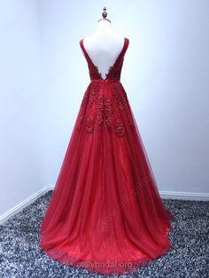 7a54b525c44 Princess Backless V-neck Tulle Appliques Lace Burgundy Prom Dresses. Red  Formal DressesBall DressesA ...
