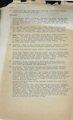 """An Astonishing Catalog of the Violence Committed Against """"Freedom Summer"""" Participants in a Single Mississippi Town: This """"Incident Summary"""" details acts of harassment, big and small, reported by civil rights activists and allies working in McComb, Miss. in the summer of 1964. Page 2 of 2."""