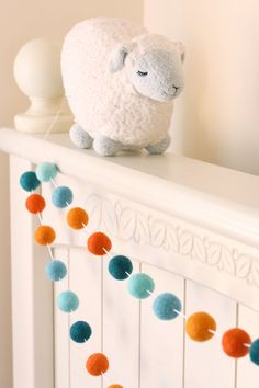 Felt Ball Garland Garland Joyful Joyful Teal by SheepFarmFelt