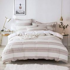 The 8 Best Comforter Sets Queen [June 2020] - Famrhouse Bedding Set Farmhouse Bedding Sets, Rustic Bedding, Cool Comforters, Striped Quilt, Queen Comforter Sets, Guest Bed, Bed Spreads, Apartment Living, Duvet Cover Sets