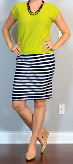 outfit post: citron green sweater, striped jersey pencil skirt, nude wedges | Outfit Posts