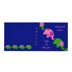 Trendy Pink and Green Elephants Ring Binder