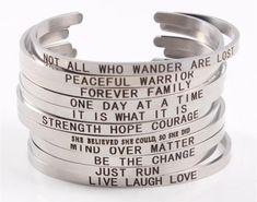 3pcs Custom Engraved Positive Inspirational Quote Cuff Mantra Bracelet Bangles