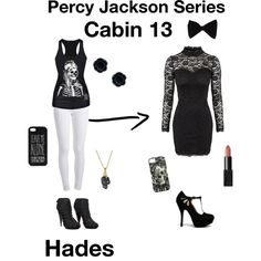 Percy Jackson Series: Cabin 13 Hades by smcreddog on Polyvore featuring polyvore, fashion, style, Oneness, Pieces, Gucci, Qupid, Alexander McQueen, PINK BOW and ASOS