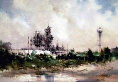 "Robert Wade, ""Launching Pad, Cape Canaveral"" 14""x 20"""