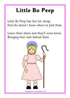 Little Bo Peep rhyme sheet - SparkleBox Nursery Rhyme Crafts, Nursery Rhymes Lyrics, Old Nursery Rhymes, Nursery Rhymes Preschool, Nursery Songs, Kindergarten Songs, Preschool Songs, Nursery Rymes, Kids Poems