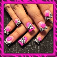 Pink and zebra hearts - Nail Art Gallery