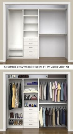 ClosetMaid 6105240 Spacecreations Classic Closet Kit - ClosetMaid Spacecreations Closet Organizers - Get Decluttered Now! ClosetMaid 6105240 Spacecreations Classic Closet Kit - ClosetMaid Spacecreations Closet Organizers - Get Decluttered Now! Wardrobe Room, Wardrobe Design Bedroom, Master Bedroom Closet, Hallway Closet, Bedroom Closets, Wardrobe Storage, Sliding Door Closet, Small Master Closet, Dorm Closet