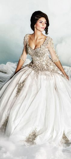 White and Gold Wedding. Sweetheart Corset Ballgown Dress. Dar Sara Wedding Dress 2014