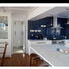 Blue Backsplash  Would Only Have To Cover A Short Section In Our Kitchen,  Not