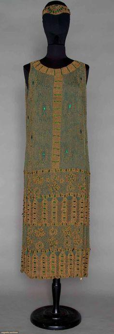 GREEN & GOLD BEADED DRESS, c. 1921