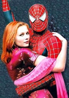 Kirsten Dunst as Mary Jane and Tobey Maguire as Spider-Man.