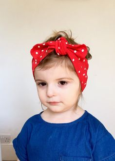 bd0ab562dec Retro head wrap   red polka dot turban headband   spotty rockabilly knot  headband   toddler head wrap   turban retro baby