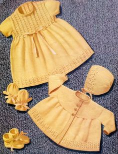 Baby 4ply Dress Jacket  Bonnet Bootees and Mittens for sizes 20 - 21 ins - PDF of Vintage Knitting Patterns - Instant DownloadB