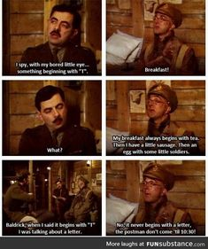 (Blackadder) This scene is all the more hilarious when you can hear it in your head with their voices. British Sitcoms, British Comedy, Funny Quotes, Funny Memes, Hilarious, Welsh, Blackadder Quotes, British Humor, Classic Comedies