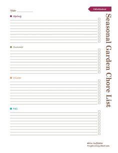 Print This Free Garden Planner: Seasonal Garden Chore List Printable