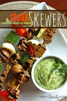 I love these steak skewers with avocado sauce. They are slightly spicy, but the cool flavor of the avocado sauce balances it out nicely.