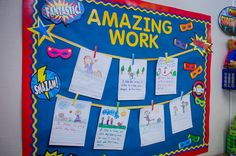 Superhero student work bulletin board for high achievers in the classroom ideas Superhero Bulletin Boards, Superhero Classroom Decorations, Kindergarten Bulletin Boards, Bulletin Board Design, Classroom Bulletin Boards, Preschool Classroom, Classroom Themes, September Bulletin Boards, Year 1 Classroom
