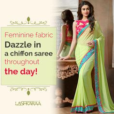 "Light Green and Hot Pink Embroidered Saree is on pure georgette fabric and features a banglori silk blouse with zari and lace embroidery work."" /> <meta name=""keywords"" content=""Light Green and Hot Pink Embroidered Saree"