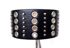 Black studded bracelet cuff.  Black cuff by ChristyKeysCreations, $11.00